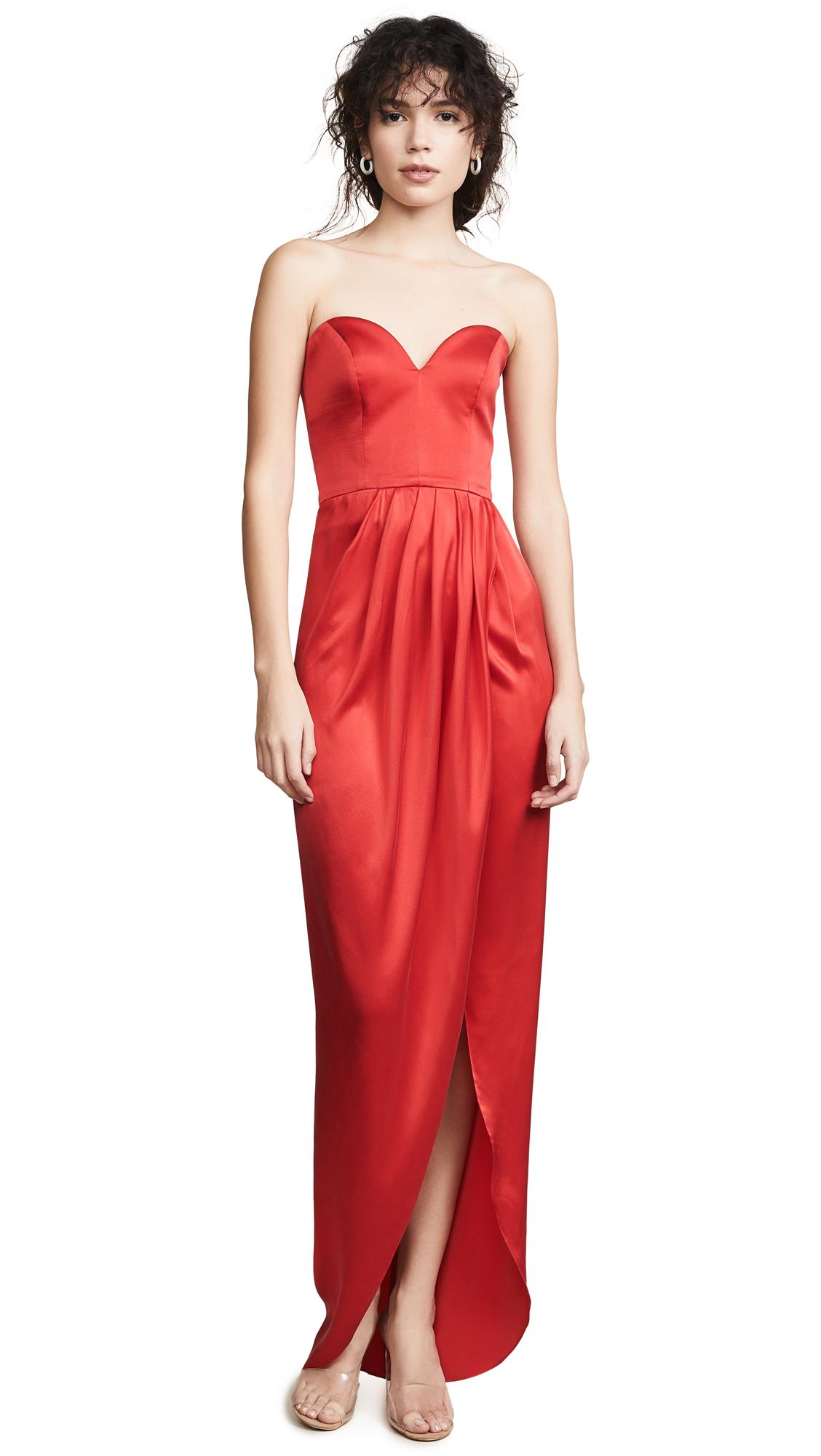 VATANIKA Draped Silk Gown in Red
