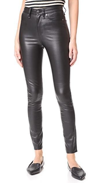 Veronica Beard Jean Kate Leather Skinny Jeans