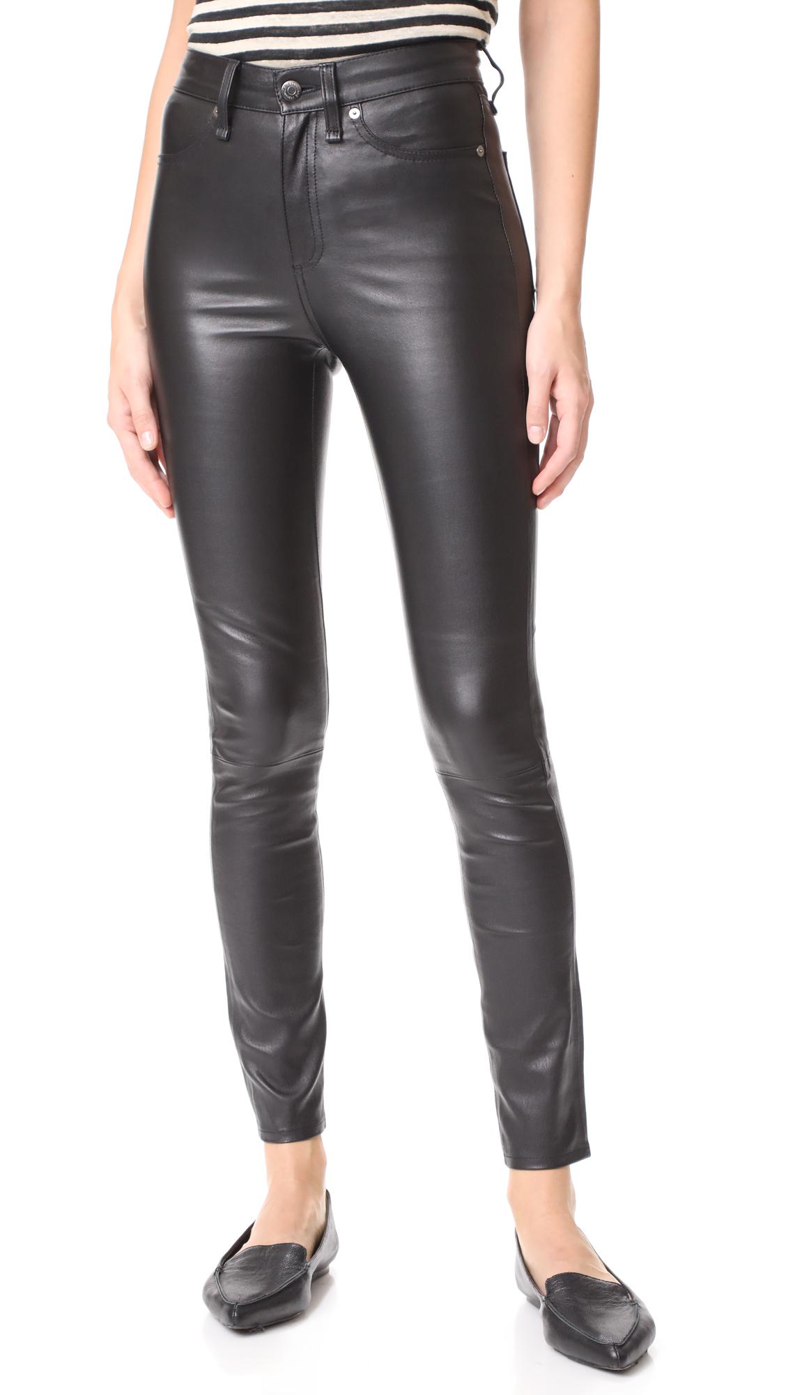 Veronica Beard Jean Kate Leather Skinny Jeans - Black