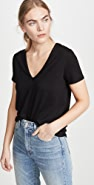 Veronica Beard Jean Cindy V Neck High Low Tee