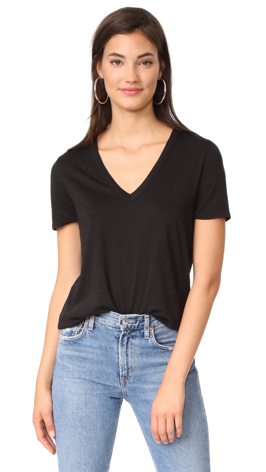 Veronica Beard Jean Cindy V Neck High Low Tee - Black
