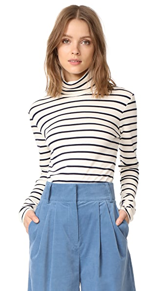 Veronica Beard Jean Audrey Turtleneck Top In Cream/Navy