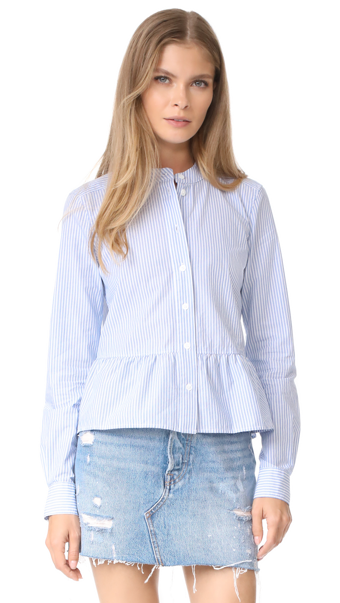 Veronica Beard Jean Charlotte Crew Neck Shirt - Blue/White