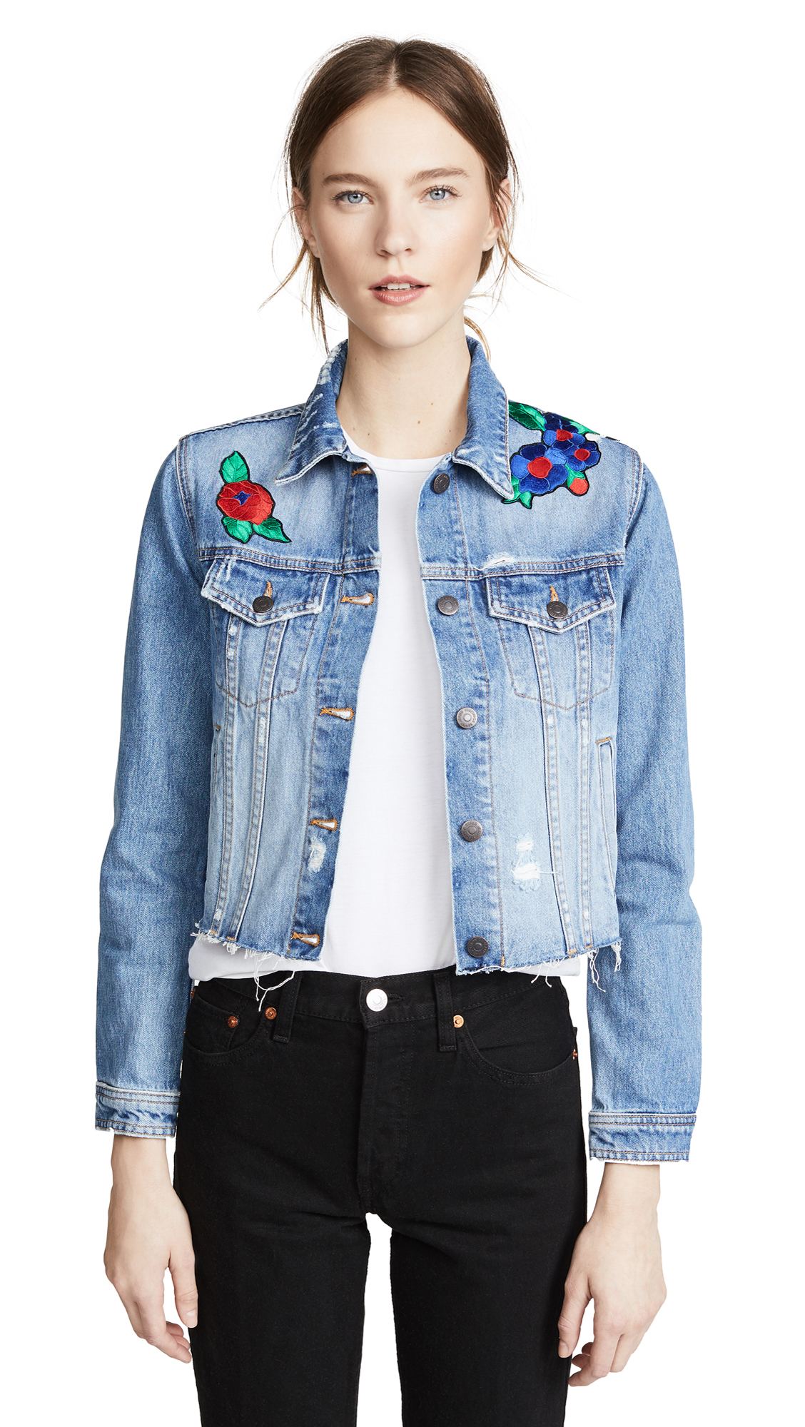 Veronica Beard Jean Cara Jean Jacket In Distressed Denim