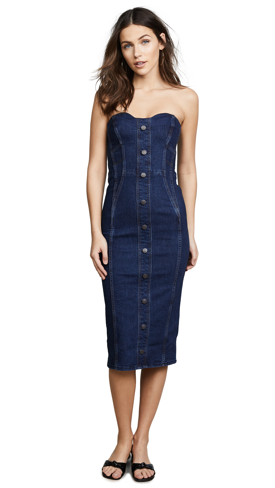 Veronica Beard Jean Liza Dress In Dark Stone Wash