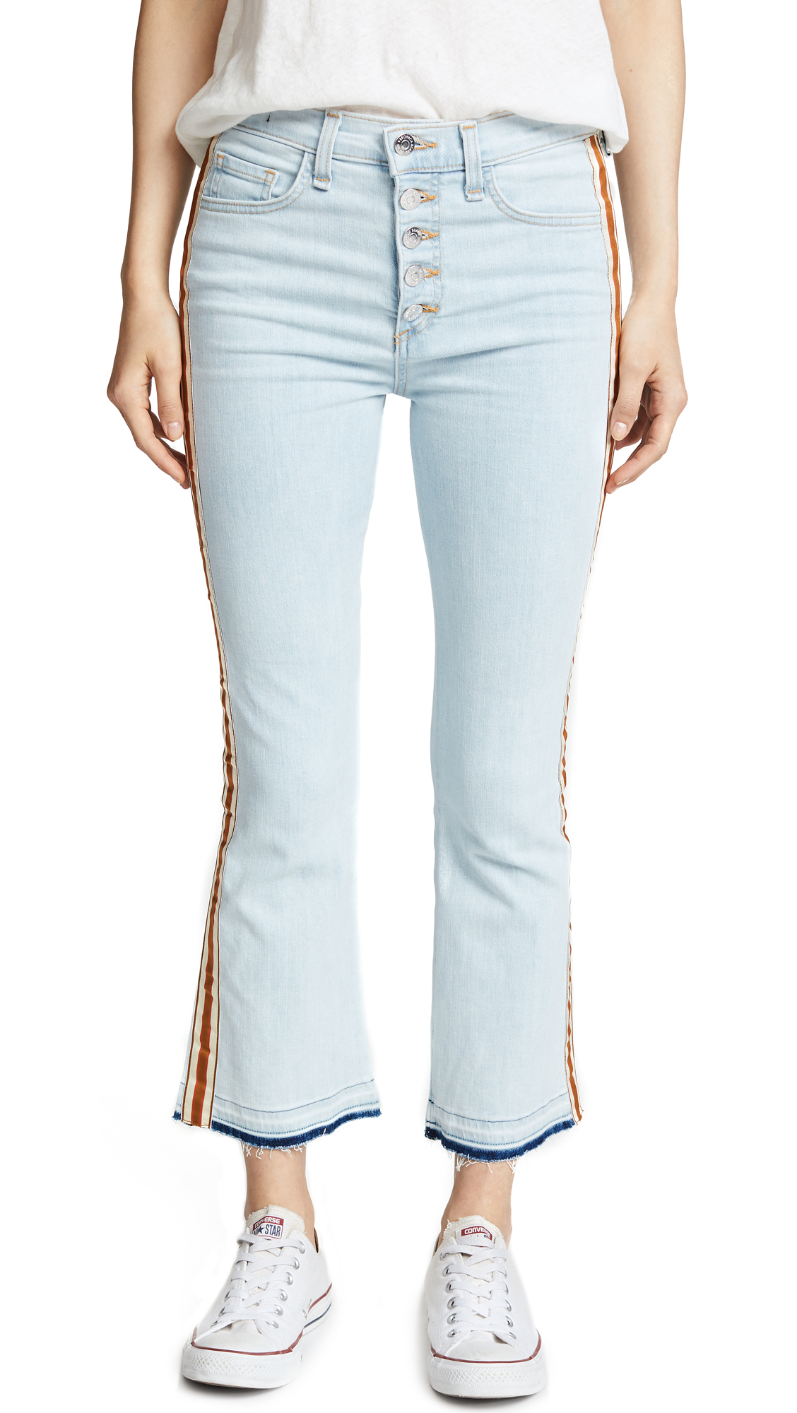 Carolyn Baby Bootcut Jeans With Fraying, Bleach