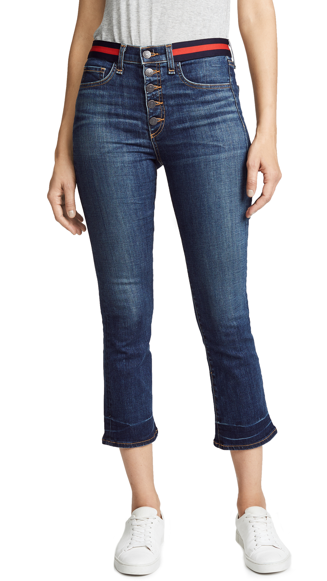 Carolyn Jeans With Tux Stripes, Blue Tidal