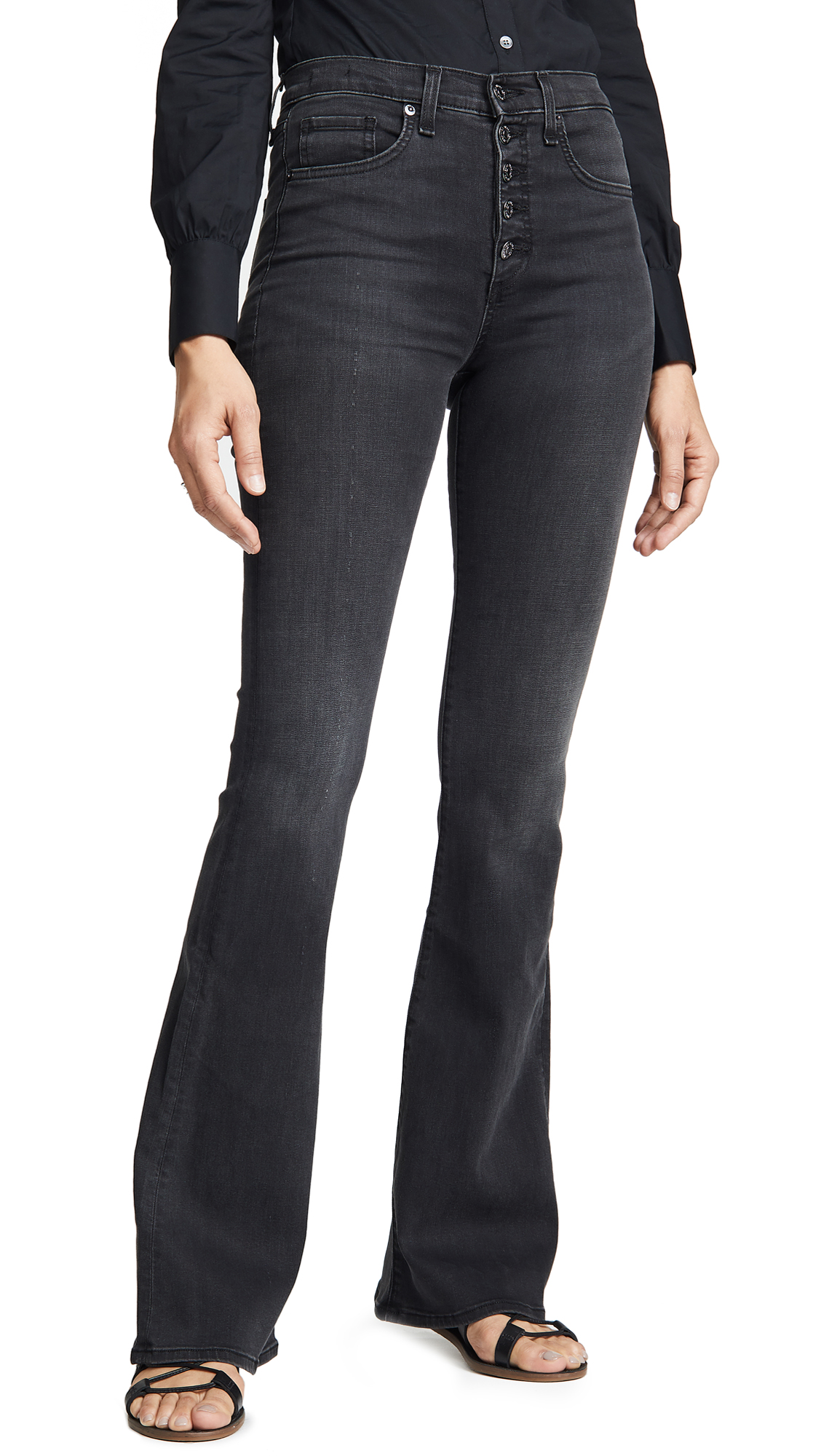Veronica Beard Jean Beverly Skinny Flare Jeans with Button Fly In Smoke