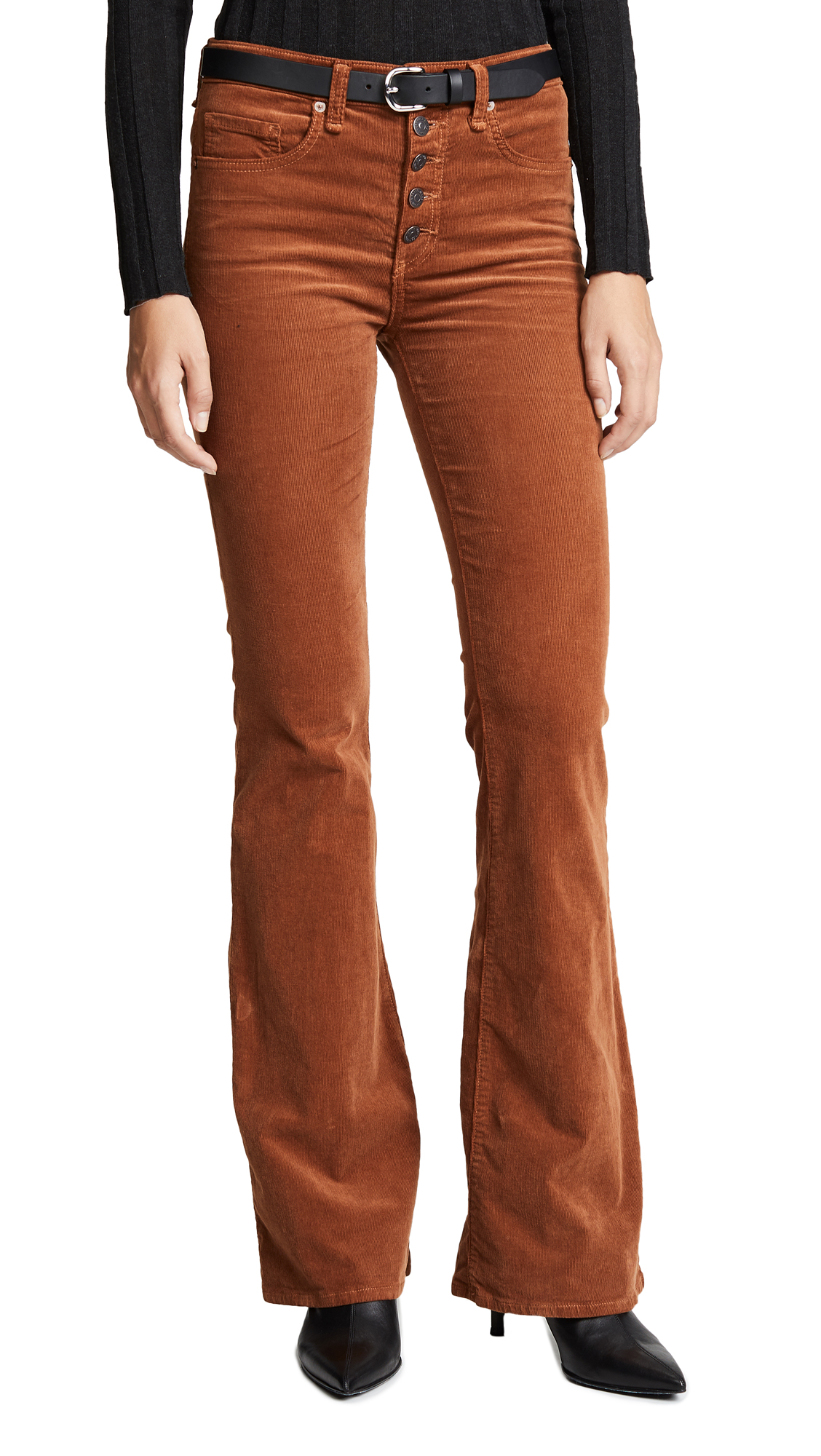 Veronica Beard Jean Beverly Button Fly Flares In Rust
