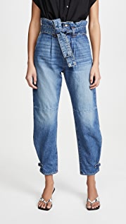 Veronica Beard Jean Addie Paperbag High Rise Tapered Jeans