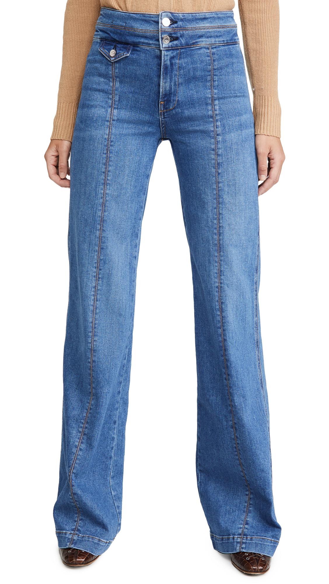 Buy Veronica Beard Jean online - photo of Veronica Beard Jean Ember Wide Leg Jeans With Seam Detail