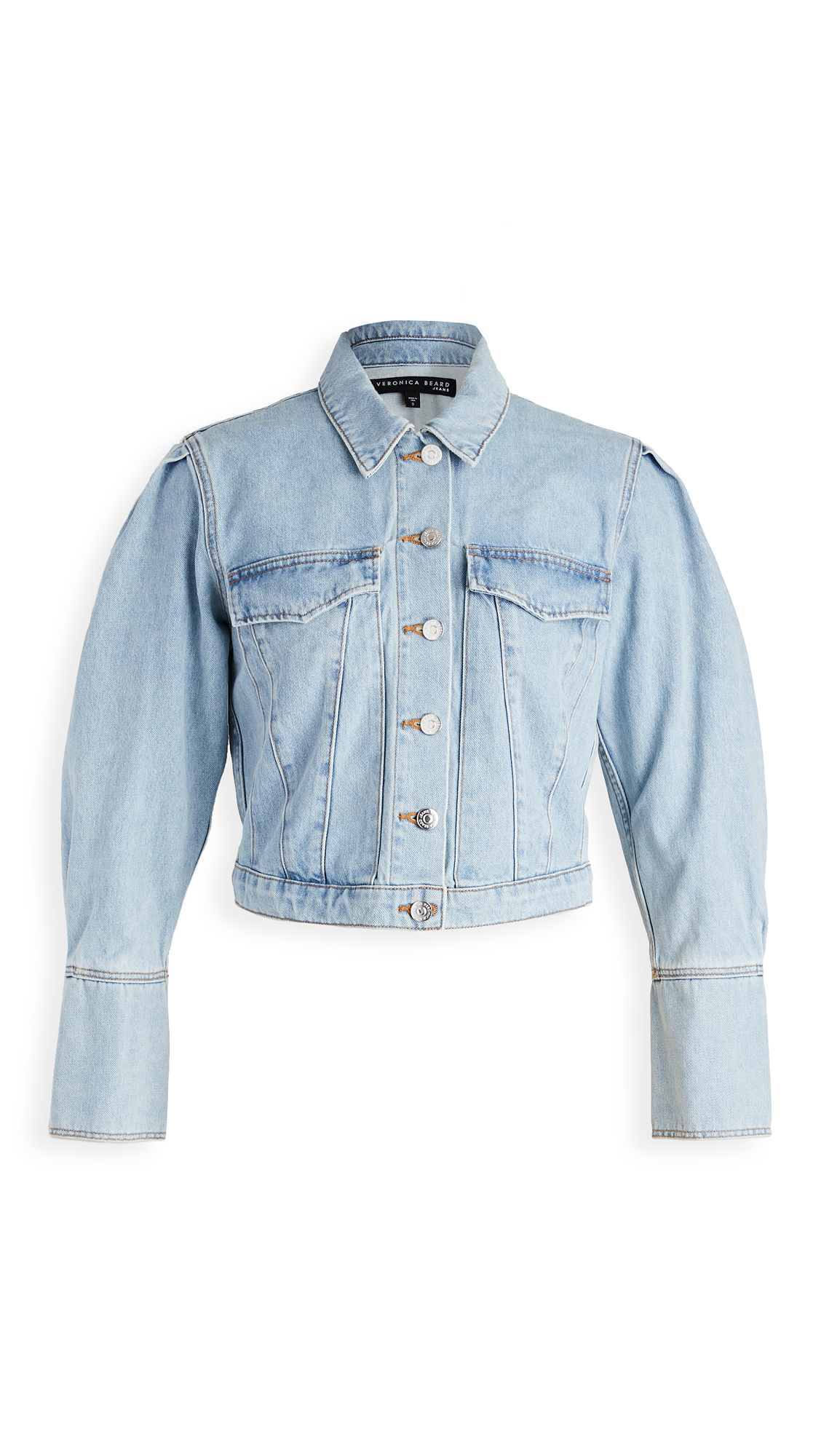Veronica Beard Jean Denim Pouf Sleeve Jacket