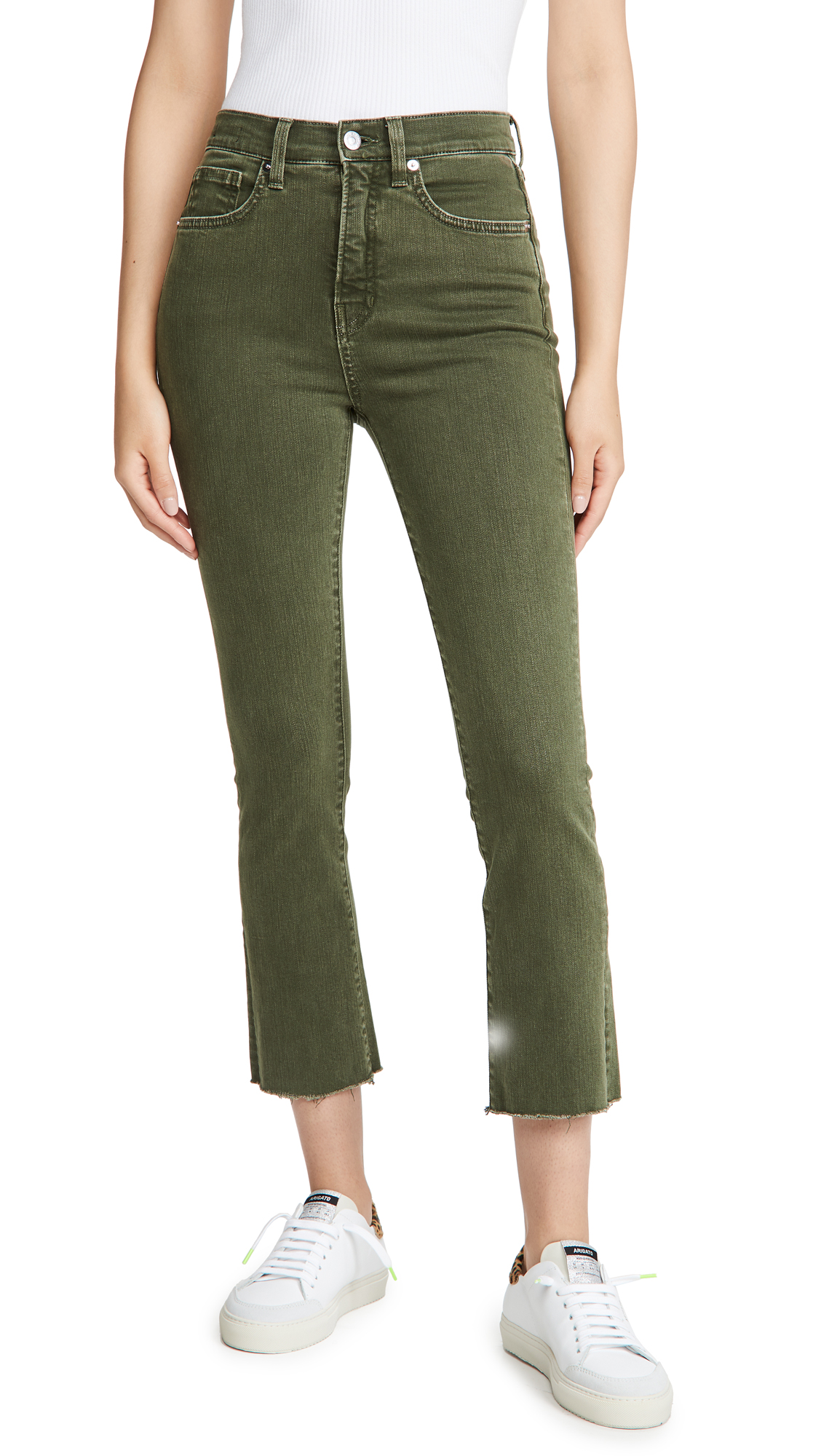 Veronica Beard Jean Carly High Rise Kick Flare Jeans with Raw Hem
