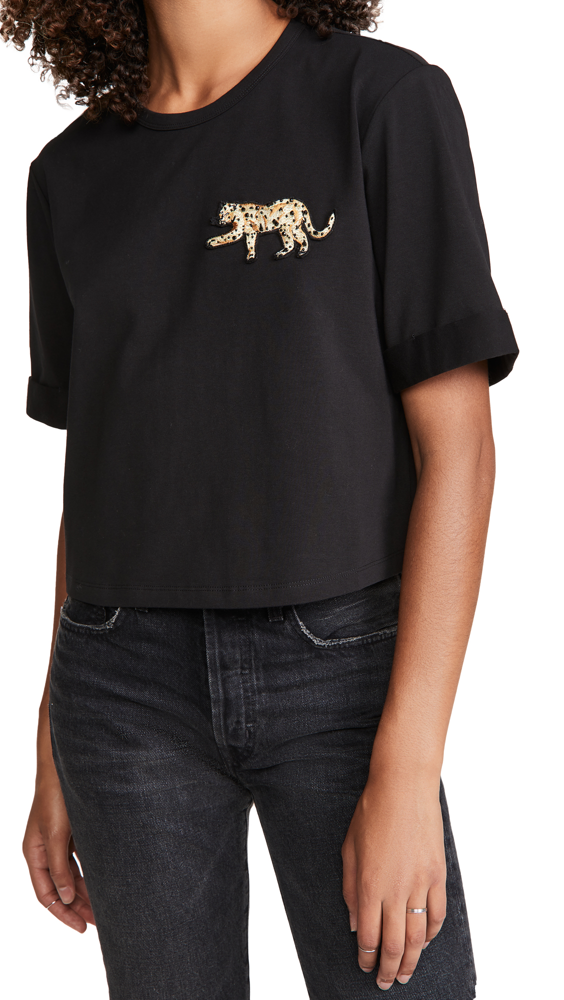Veronica Beard Jean Abby Tee With Sequin Patch