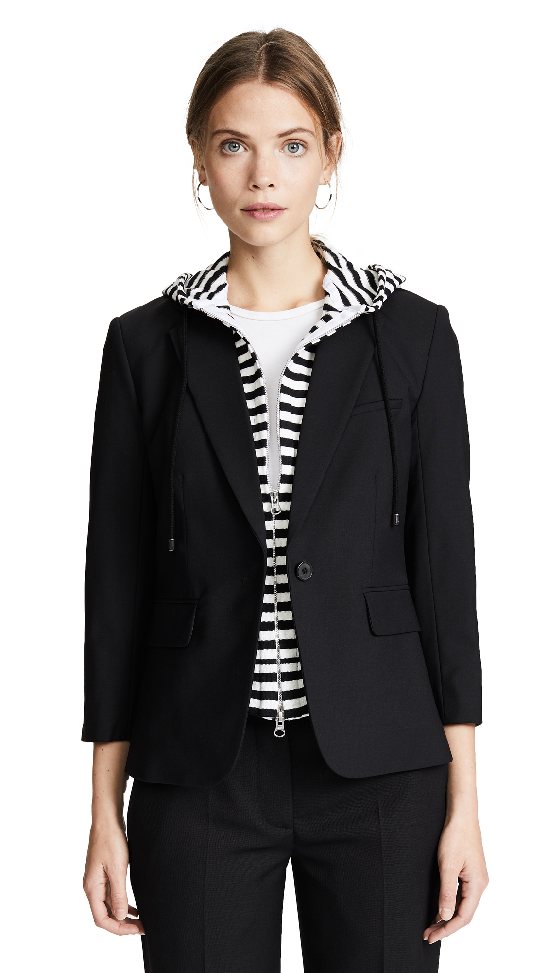 Veronica Beard Schoolboy Jacket with Striped Dickey In Black