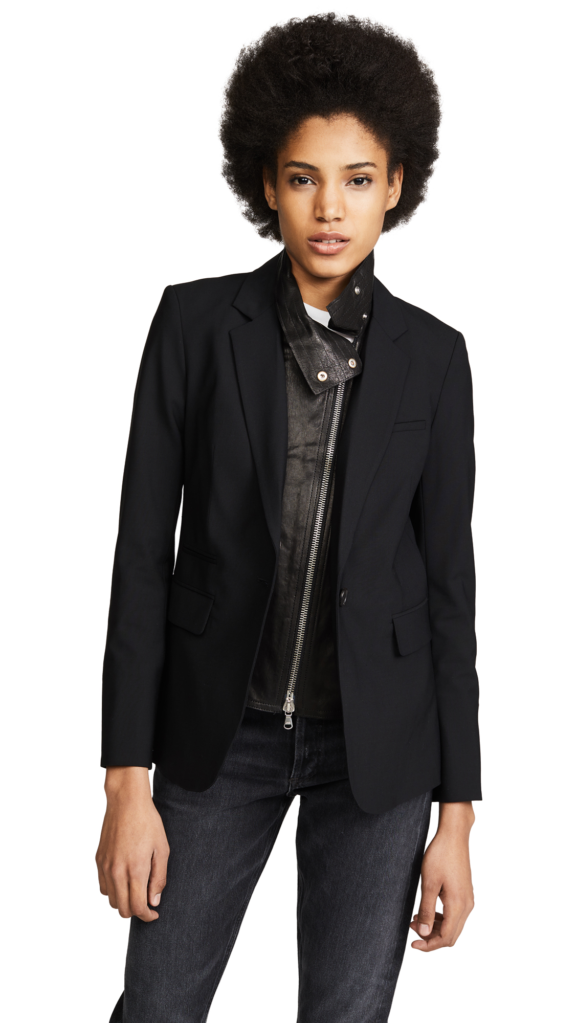 Veronica Beard Classic Jacket with Leather Dickey - Black