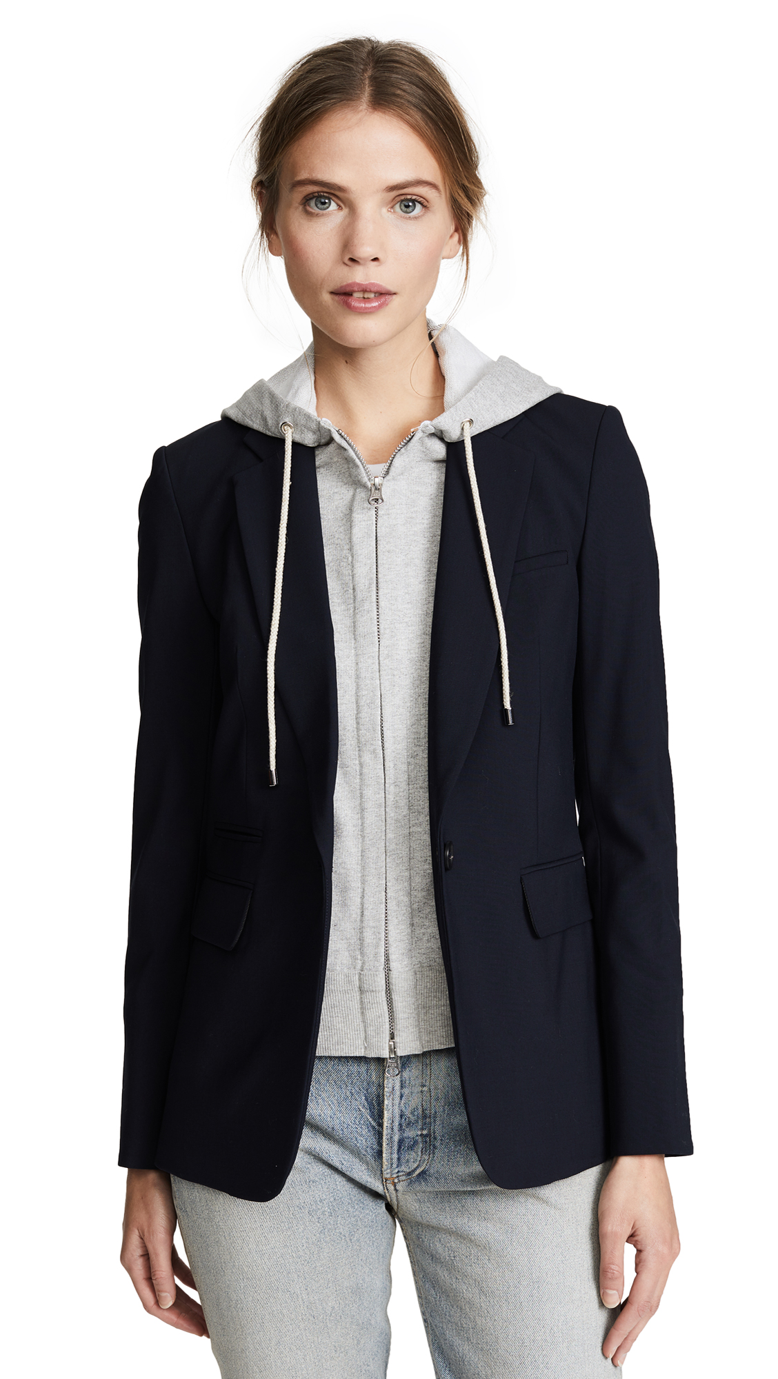 Veronica Beard Classic Jacket with Hoodie Dickey In Navy
