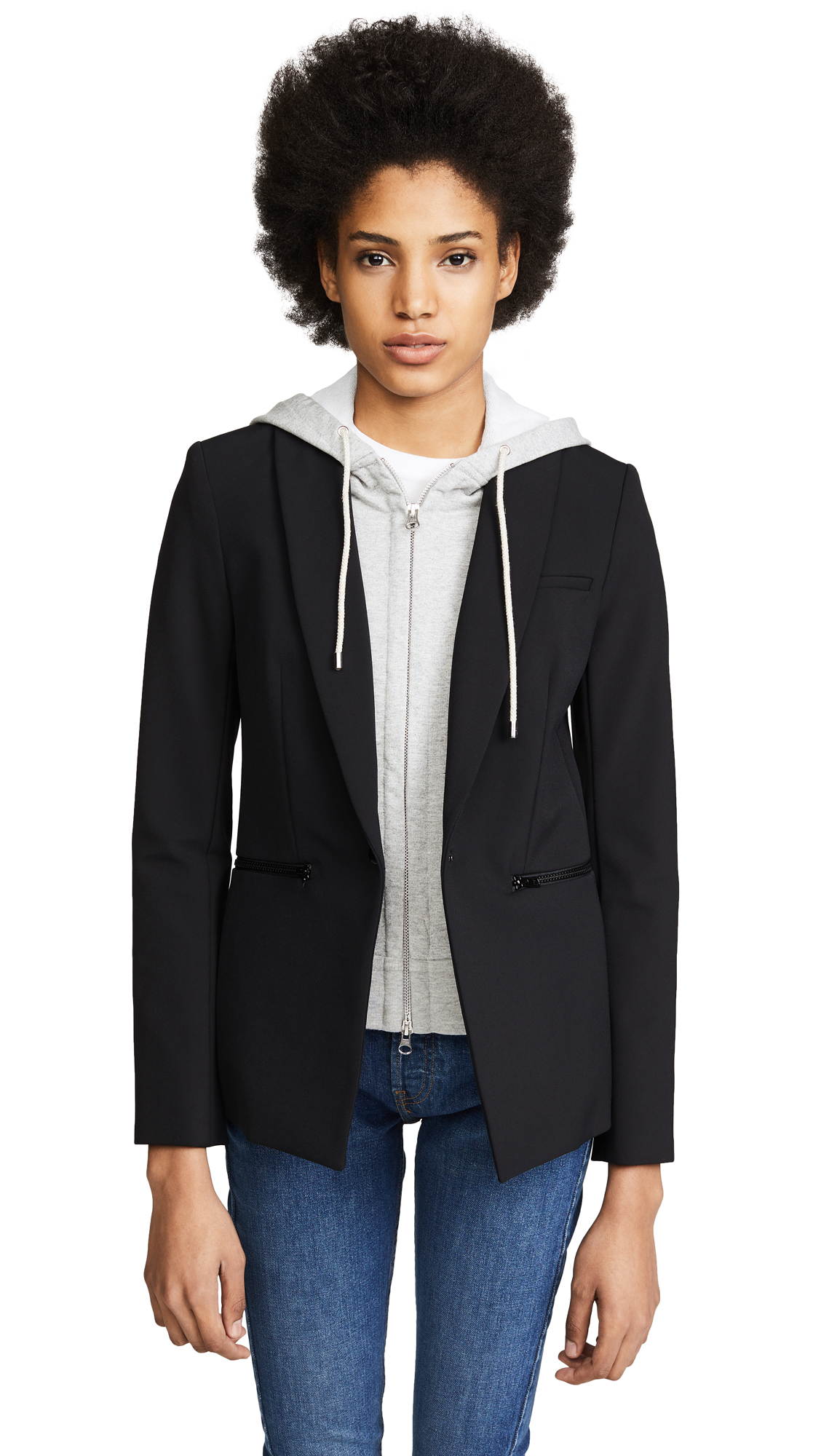 Veronica Beard Blazer with Hooded Dickey - Black