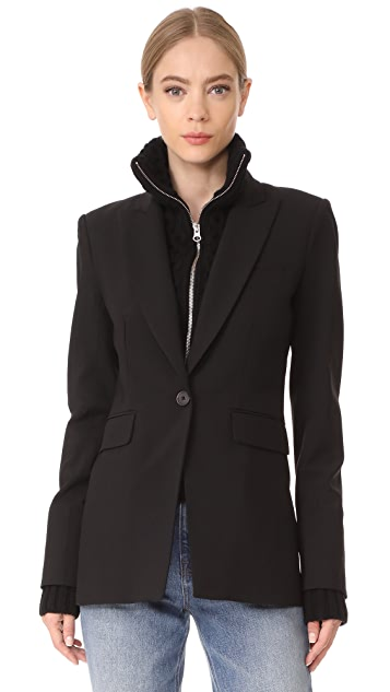 Veronica Beard Long & Lean Jacket with Black Upstitch