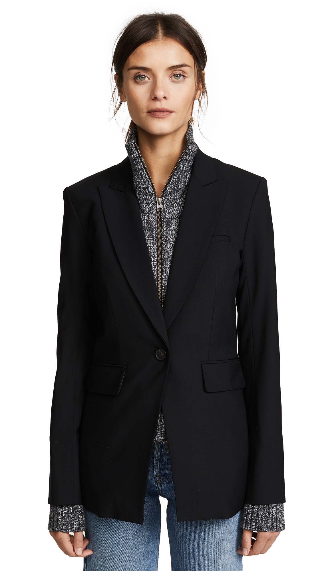 Veronica Beard Long & Lean Jacket with Melange Uptown Dickey - Black/Black/White