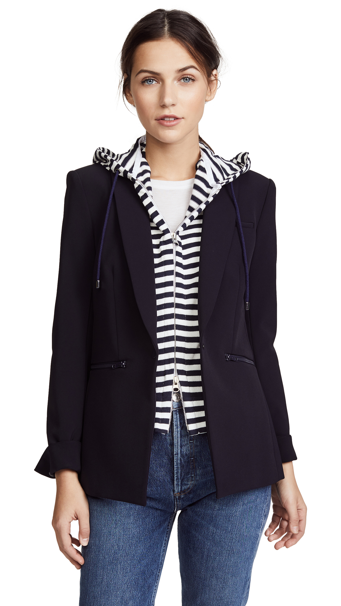 Veronica Beard Striped Hoodie Dickey - Navy/White
