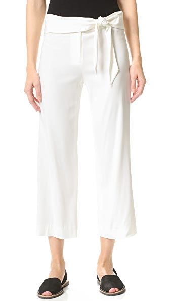 Veronica Beard Imperial Cropped Tie Waist Pants