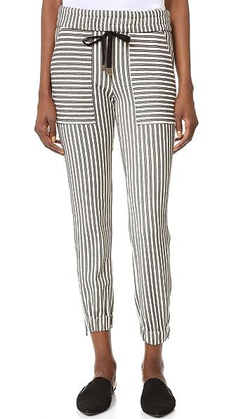 Veronica Beard Vista Zipper Hem Pants - Black/White