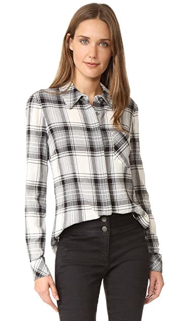 Veronica Beard Poppy Plaid Button Down Top