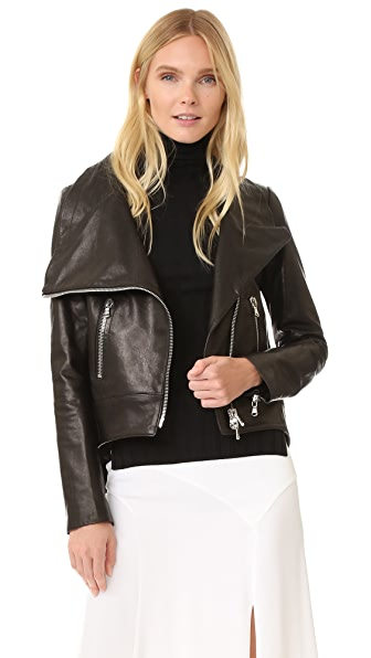 Veronica Beard Mission Moto Swing Back Jacket - Black