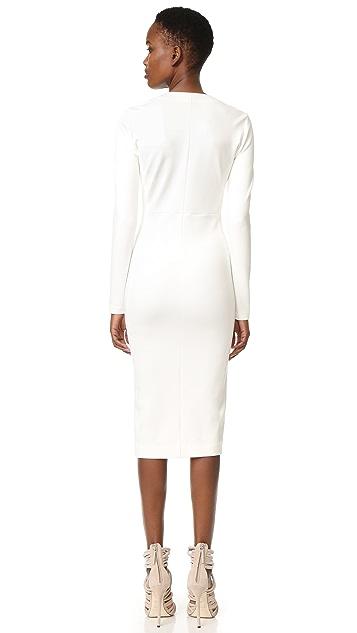 Veronica Beard Firefly Slit Front V Neck Dress