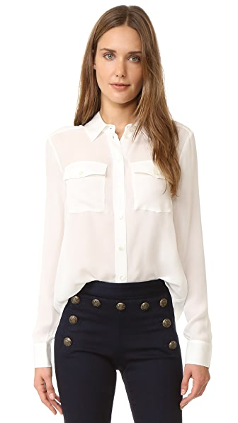 Veronica Beard Patch Pocket Blouse - Off White