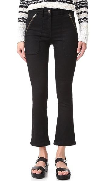 Veronica Beard Cropped Patch Pocket Pants - Black