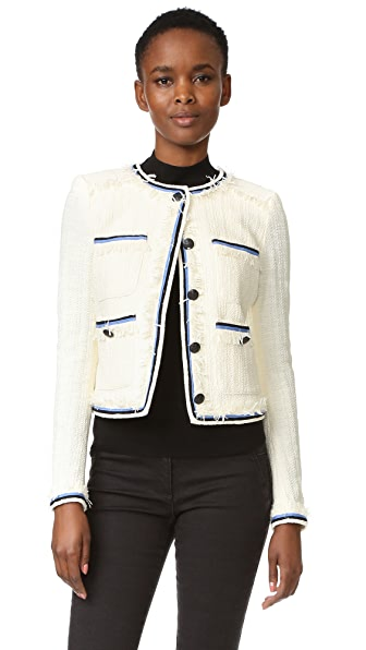 Veronica Beard Eclipse Contrast Fringe Jacket