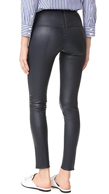 Veronica Beard Palladium Leather Leggings