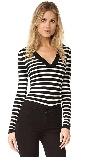 Veronica Beard Striped V Neck Bodysuit at Shopbop