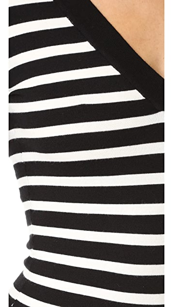 Veronica Beard Striped V Neck Bodysuit