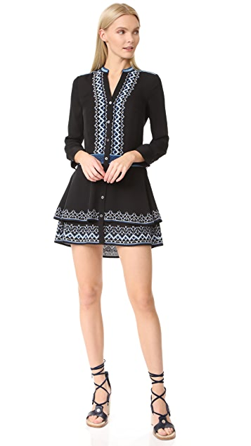 Veronica Beard Sloane Double Tiered Embroidered Dress