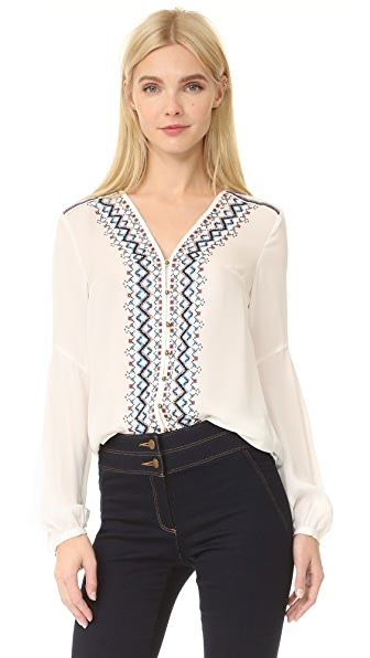 Veronica Beard Dream V Neck Embroidered Blouse