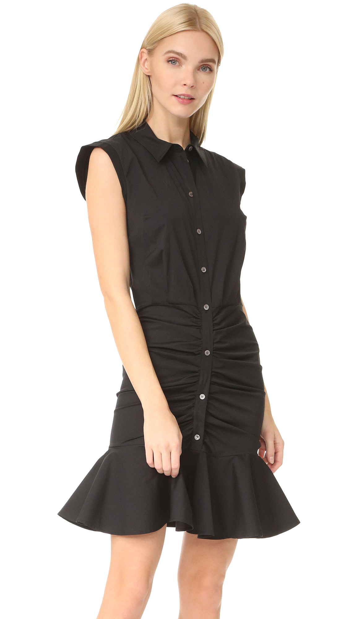 Veronica Beard Ruched Shirtdress - Black