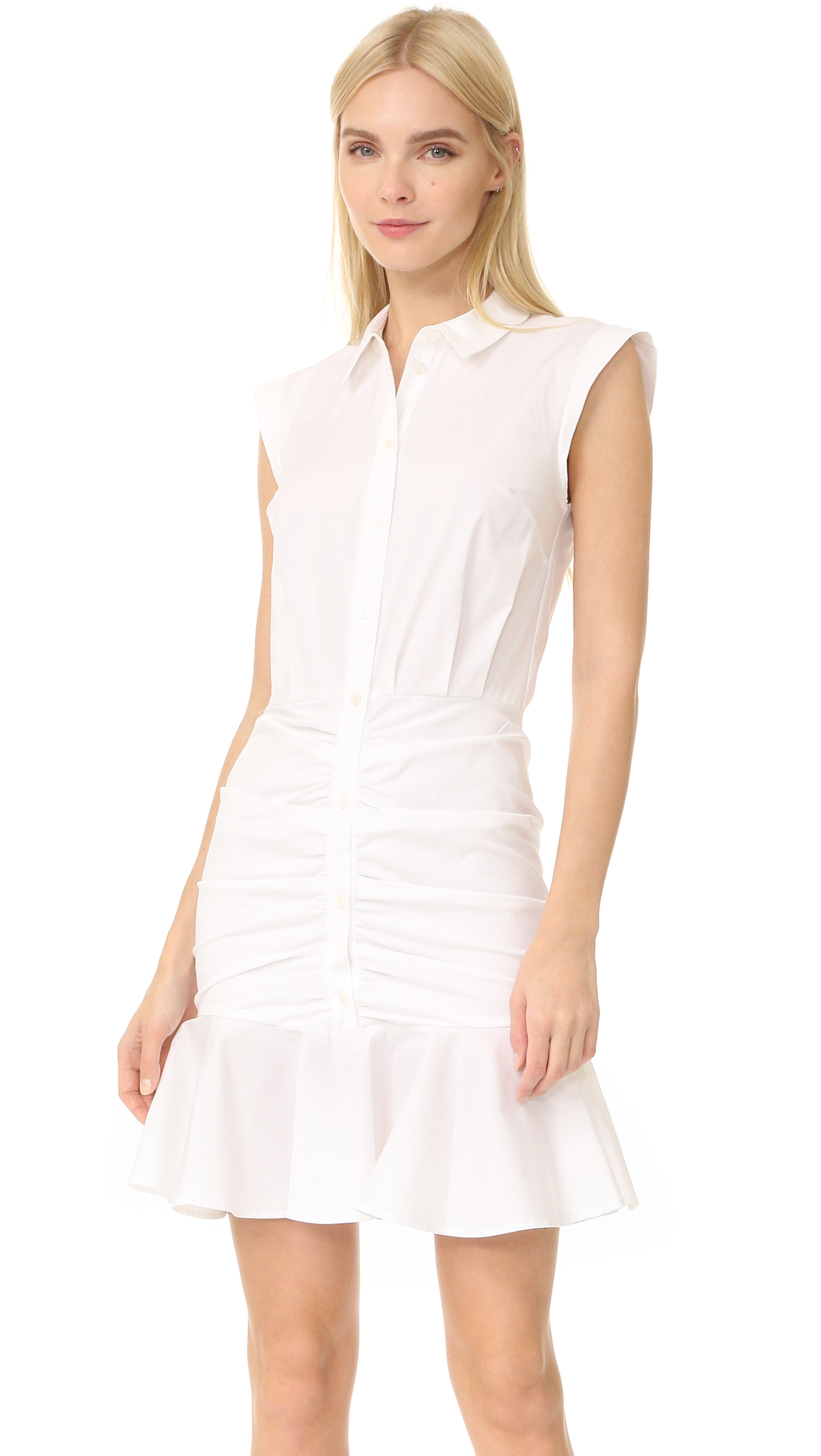 Veronica Beard Ruched Shirtdress - White