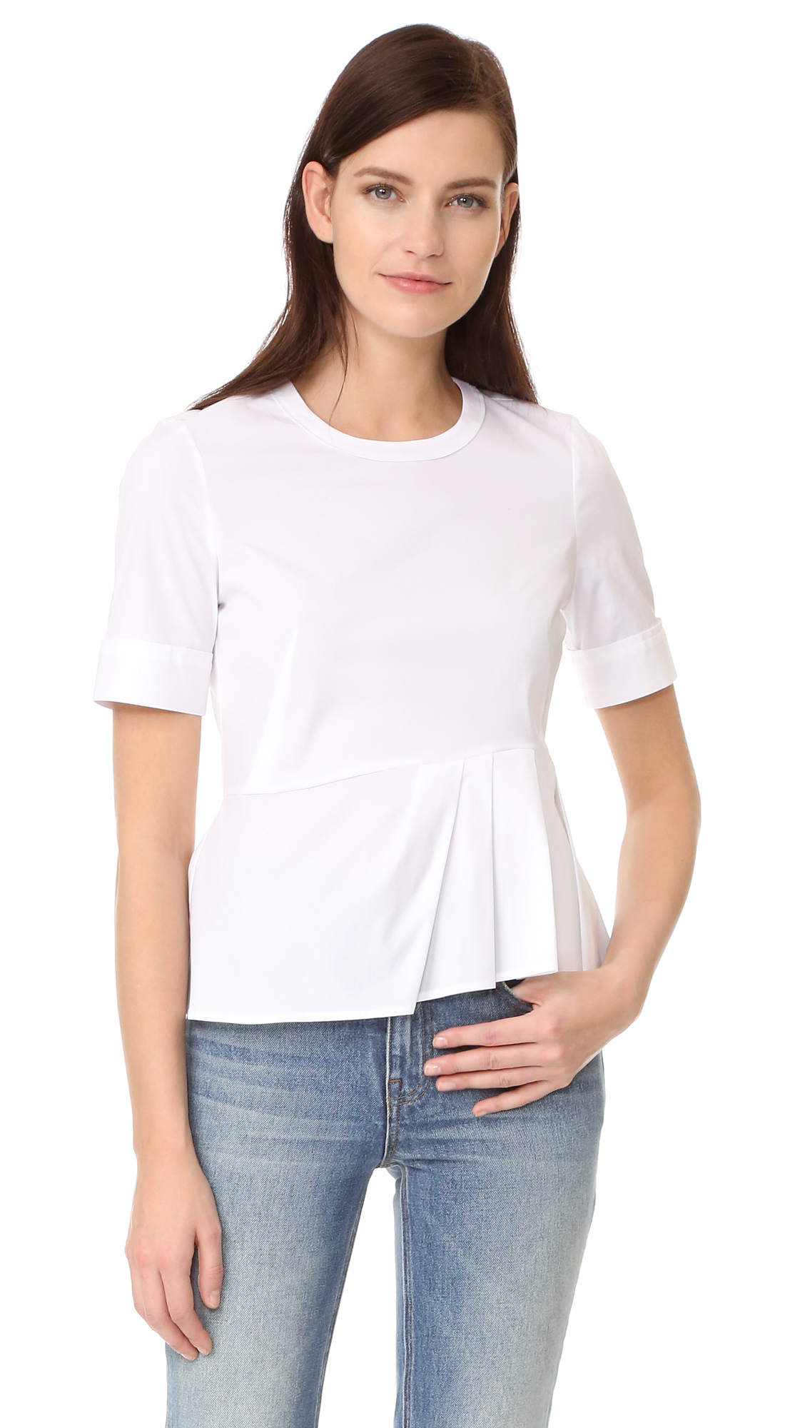 Veronica Beard Short Sleeve Peplum Top - White