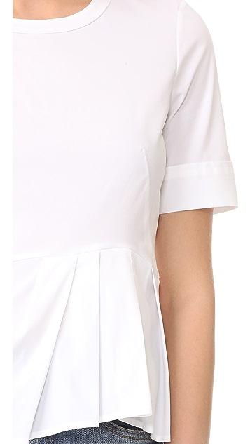 Veronica Beard Short Sleeve Peplum Top