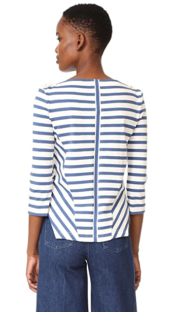 Veronica Beard Lincoln Boat Neck Top