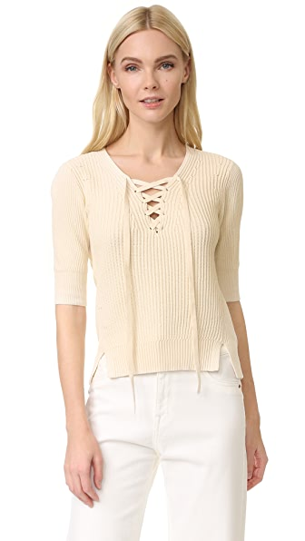Veronica Beard Marley Lace Up Sweater - Ivory