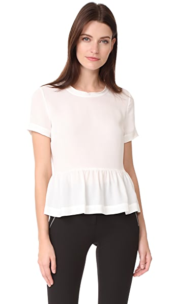 Veronica Beard Raw Edge Scoop Neck Top In Off White