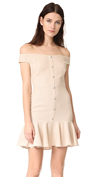 Veronica Beard Winnie Off Shoulder Flounce Dress In Nude