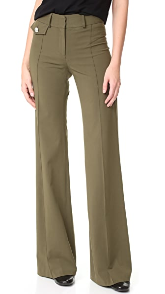 Veronica Beard Groove High Waisted Pants - Army Green
