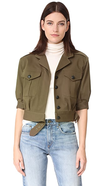 Veronica Beard Fleet SS Military Jacket In Army Green