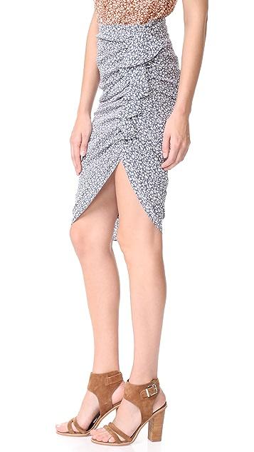 Veronica Beard Hazel Side Ruched Ruffle Skirt
