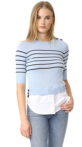 Veronica Beard Knot Mariner Combo Sweater - Light Blue/Black